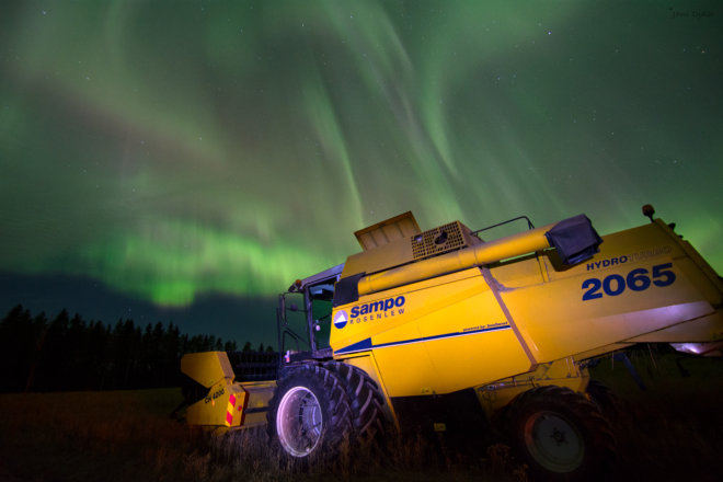 Harvest time with auroras