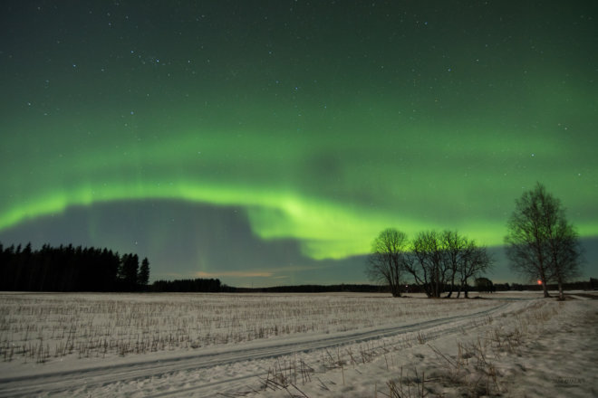 Beautiful aurora in the sky