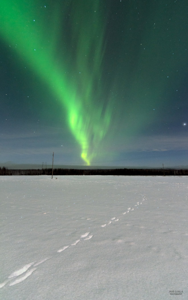 Beautiful aurora wave in the sky