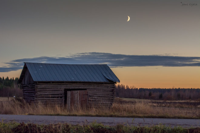 Moon over the barn
