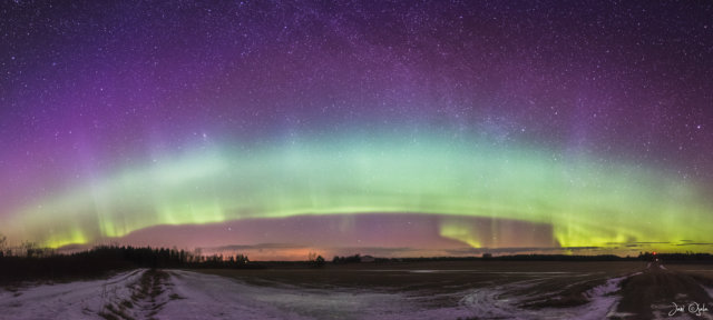 Giant aurora wave in the sky