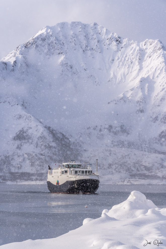 Ferry under the mountain