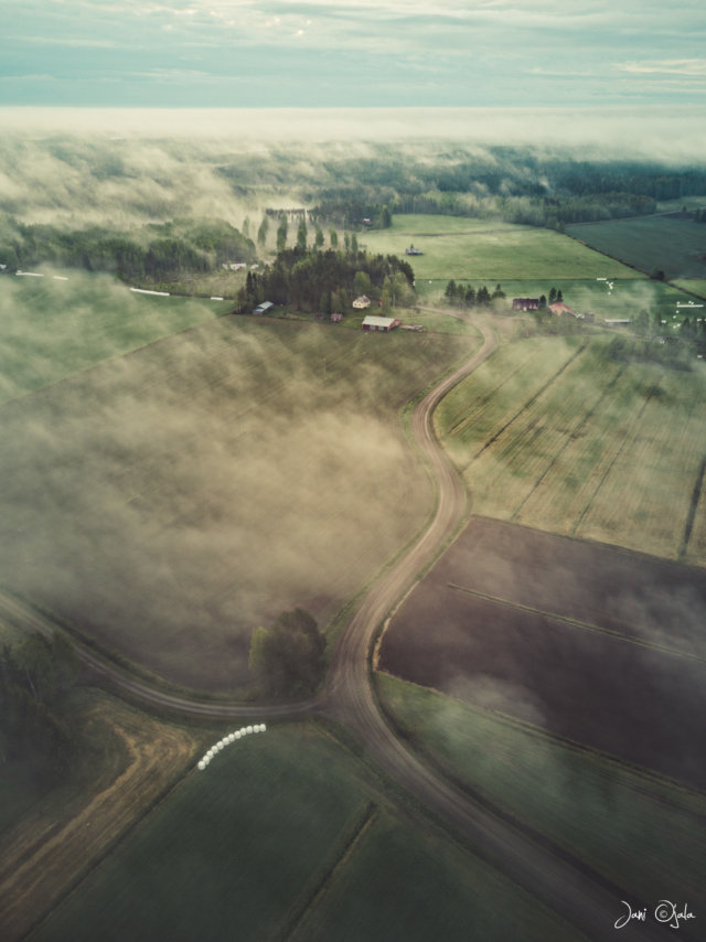 Foggy countyside